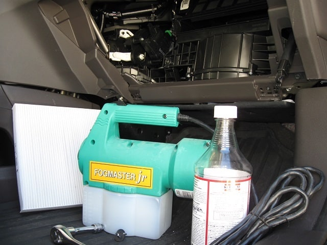 how to clean mold out of the AC system of a car